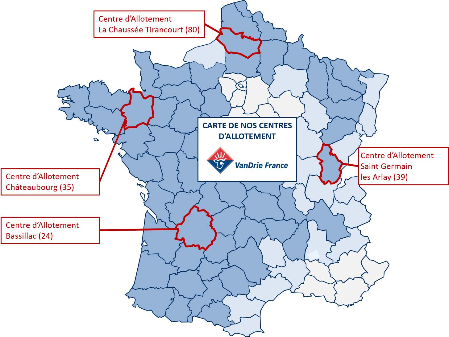 Carte des centres allotement